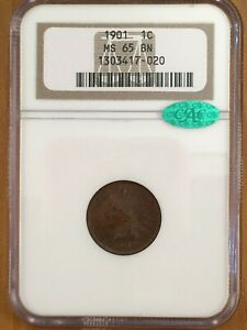 1901 Indian Head Cent ~ NGC MS-65 BN CAC Approved For HIGH Quality A Real Beauty