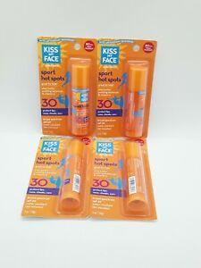 4X Kiss My Face Sunscreen Sport Hot Spots SPF 30 0.5 oz Each Exp 05/2021 SEALED