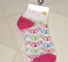 Butterfly Girls Ankle Socks Size 6-8 Pink White