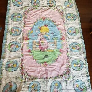 Vintage Precious Moments Twin Comforter Blanket Quilt Girl with Goose Pink Blue