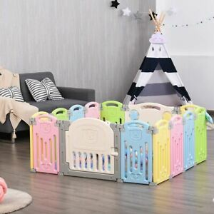 DurablFoldable Baby Playpen 14 Panel Activity Center Safety Play Yard-Multicolor