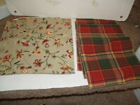 """Vintage Lot of 6 Cloth Placemats 17"""" X 12"""" Reversible - Plaid and Flowers"""