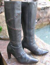 Maggio Rossetto Italian Fashion Boots Black Distressed Leather Wmn USA 6.5 EU 37