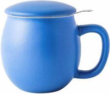Porcelain Teacup with Infuser and Lid Matte Blue