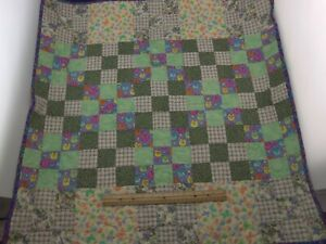 "Small Finished Quilt/30"" x 30""/Machine Pieced & Quilted/9-Patch"