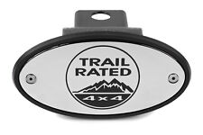 Jeep Trail Rated Chrome Receiver Hitch Cover - Engraved - USA Made