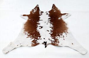 """Rare Cowhide Rugs Calf Hide Cow Skin Rug (28""""x35"""") White & Brown CH8360"""