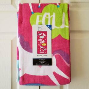 Mainstays Unicorn Pink Beach Towel, 28 x 60 Inches, Quick Drying 100% Cotton NEW