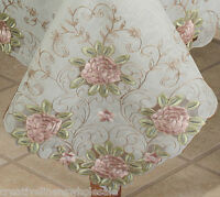"""Embroidered Pink Rose Floral Cutwork Sheer Tablecloth 70x104"""" & 12 Napkins 3737W"""