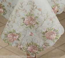 "Embroidered Pink Rose Floral Cutwork Sheer Tablecloth 70x104"" & 12 Napkins 3737W"