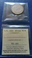 1845 GREAT BRITAIN Half 1/2 Crown Silver Coin Queen Victoria ICCS VG-8