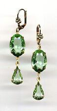 PERIDOT green cut-crystal Teardrop EARRINGS 14K Gold gp Art Deco *Vintage Czech