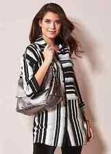 Kaleidoscope Size 10 Black and White Mono Stripe Shirt / Blouse