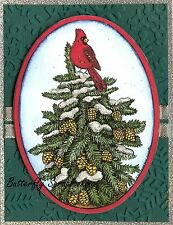 WINTER PINE TREE CARDINAL OVAL Wood Mounted Rubber Stamp NORTHWOODS P10170 New