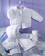 "Vintage Lacy Eyelet Baby Matinee Coats Hood Raglan 16""- 22"" DK Knitting Pattern"