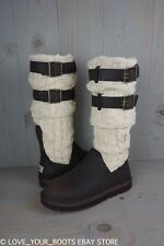 UGG CASSIDEE TALL CHOCOLATE CABLE KNIT DOUBLE BUCKLE WOMENS  BOOTS  US 7 NEW