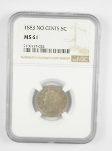 MS61 1883 Liberty V Nickel - No Cents - Graded NGC *924