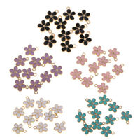 10PCS 5 Colors Enamel Beads Flower Pendant Charms Craft DIY Jewelry Findings