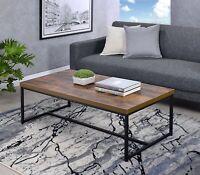 Industrial Coffee Table Wood Top Metal Legs Living Room Furniture Oak Finish NEW