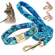 Floral Personalized Dog Collar and Leash Set Custom ID Engraved Name Adjustable
