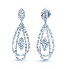 14K White Gold Diamond Teardrop Dangle Pear Earrings Round Cut Natural 1.67 CT