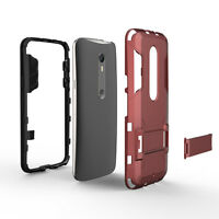 Armor 2 in 1 metal plastic hard Soft stand Case Cover For Motorola Moto X Play