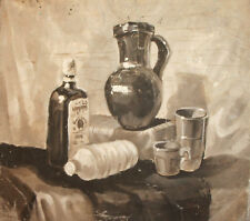 1994 STILL LIFE WITH BOTTLES AND MUGS OIL PAINTING SIGNED