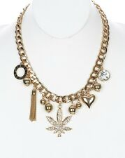 Bling Rhinestone MARIJUANA LOVE WEED CHARMS Statement Necklace Link Chain ~ GOLD