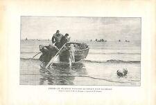 Femmes de Pêcheurs Barque de Berk par Charles Roussel GRAVURE ANTIQUE PRINT 1913
