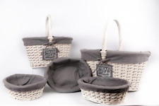 Set Of 5 Neat & Tidy Round Lined Willow Baskets With Handles - Gorgeous Storage