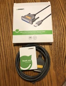 UGREEN USB to DB25 Parallel Printer Cable Data Transfer Rate up to 12 Mbps NEW