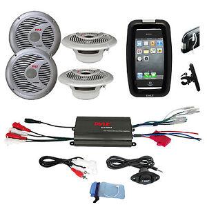 """Pyle Offroad Bike Boat Marine 6.5"""" Silver Speakers, 800W iPod Input Amplifier"""