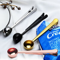 1X Creative Stainless Steel Ground Coffee Measuring Spoon With Bag Clip Sealing