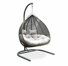 NEW Alfie Double Hanging Egg Chair, Grey   Pod Chair Outdoor Wicker Patio Garden