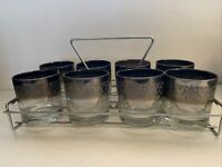VTG Silver Fade Vitreon Queens Lustre Glass Set of 8 Rocks Glasses W/ Stand MCM