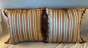 Pillows Silk Green and Salmon Pink Stripe  Down McKenzie Child style  Set 2
