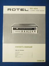 ROTEL RX-454 RECEIVER OWNER MANUAL FACTORY ORIGINAL THE REAL THING
