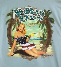 Tee Shirt, Tropical, No Bad Days, Beautiful Lady Graphic, Light Green, Medium