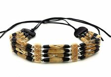 Handmade Native American Stye 4 Row Buffalo Bone Hairpipe Tribal Choker Necklace