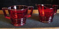 Vintage Paden City Art Deco Penny Line Ring Glassware Ruby Red Sugar & Creamer