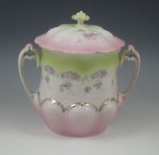 Victorian Zdekauer Bohemia Jelly Jar Condensed Milk Holder With Handles Pastels