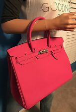 BIRKIN INSPIRED 35CM HOT PINK LEATHER HANDBAG W/LOCK AND KEY
