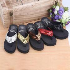 Summer Women Wedge Beach Sandals Sequin Thong Flip Flops Platform Slippers JJ