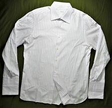 Ermenegildo Zegna Mens Dress Shirt 17.5 Striped Slim-Fit French-Cuffs Designer