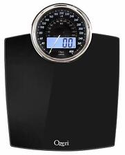 Digital Bathroom Scale with Electro Mechanical Weight Dial - Black 400lbs