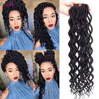 20'' Kanekalon Faux Locs Crochet Curly Braids Hair Synthetic Wavy Hair Extension