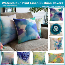 Watercolour Abstract Floral Natural Linen Print Cushion Cover Pillow Home Decor