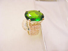 LARGE EMERALD ON 925 SOLID STERLING SILVER BAND
