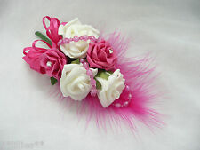 Wedding Flower Buttonhole Corsage Ivory & Hot Pink.... PIN ON A
