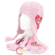 Disney Princess Knitted Laplander Grils Beanie Gloves Set -Pink Cinderella Ariel